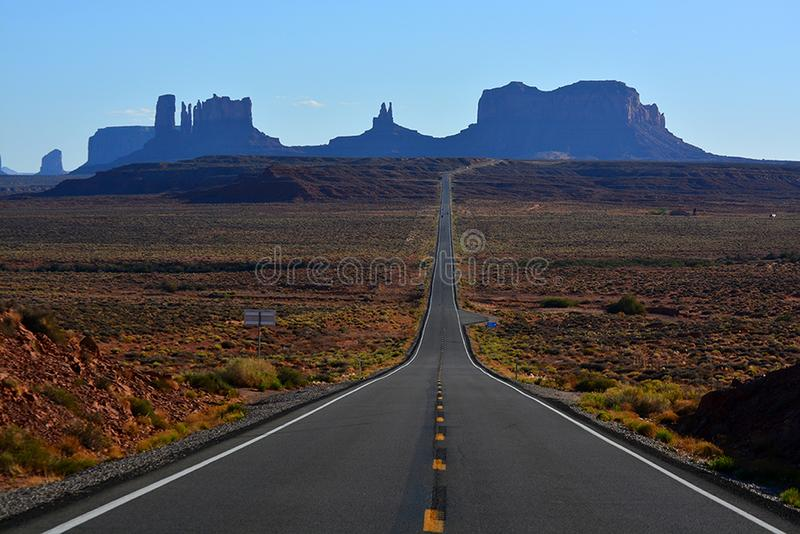 Scenic view of Monument Valley in Utah, United States. Road Scenic view of Monument Valley in Utah, United States royalty free stock photos