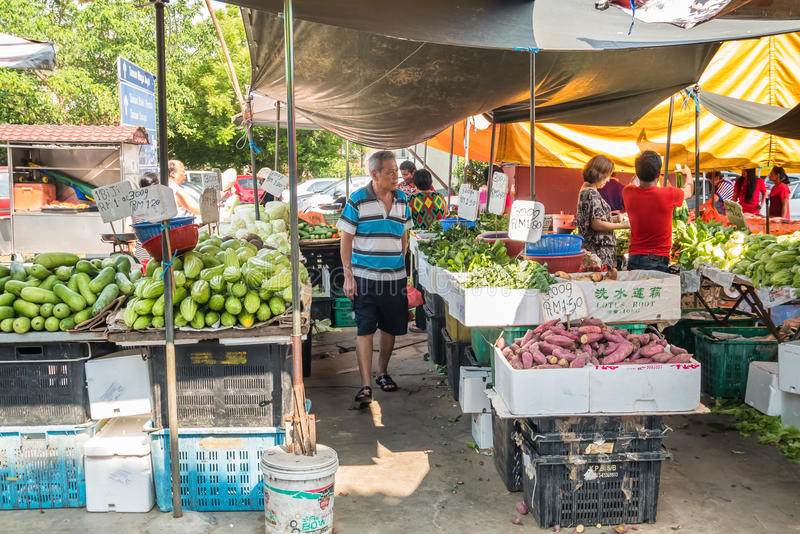 Scenic view of the morning market in Ampang, Malaysia. Selangor,Malaysia - July 10,2017 : Scenic view of the morning market in Ampang, Malaysia. The morning stock photos
