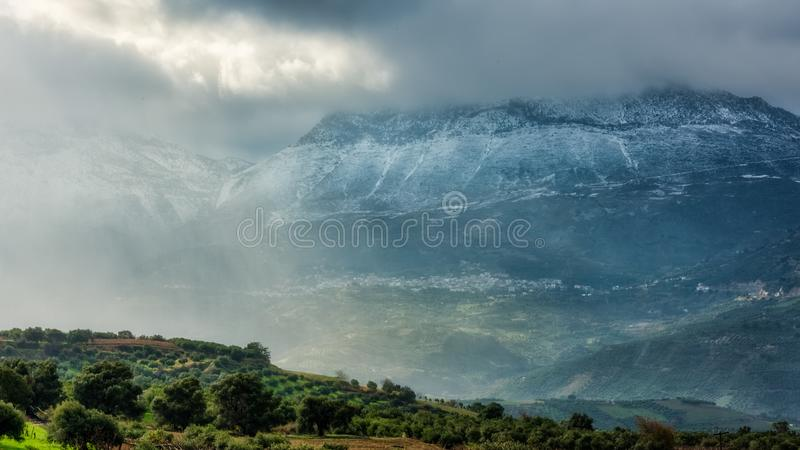 Scenic View of the Mountain on a Gloomy Day royalty free stock photos