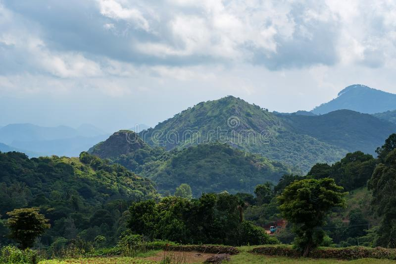 Scenic view of mountain village in Sri Lanka. Beautiful landscape of Srilankan mountain village and rice field royalty free stock photos