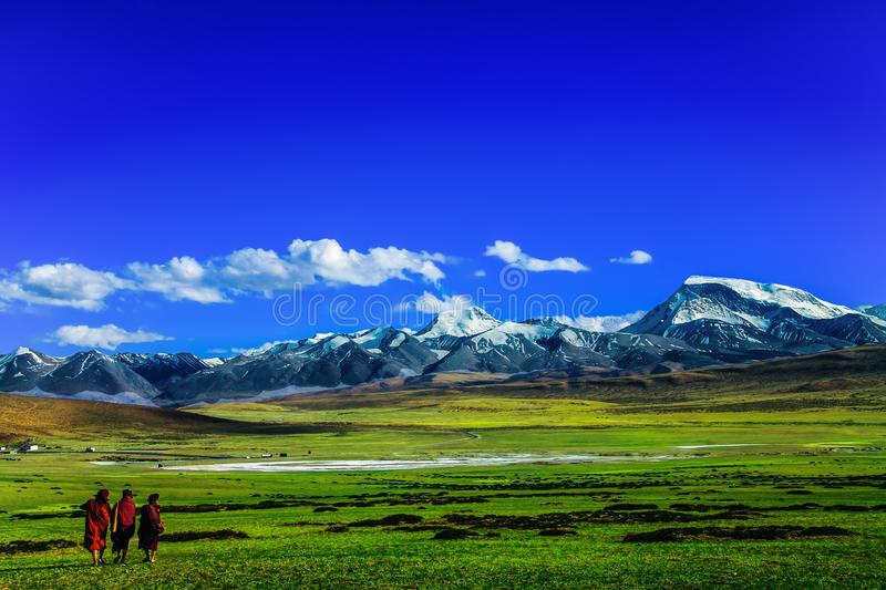 Scenic View of Mountains Against Blue Sky royalty free stock photos