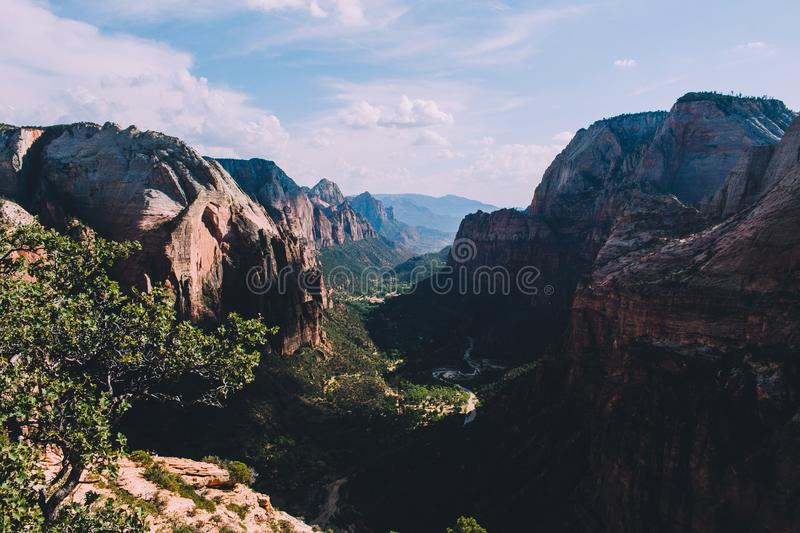 Scenic View of Mountains Against Cloudy Sky royalty free stock photos