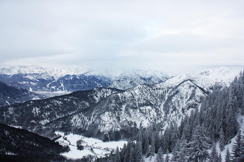 Scenic View of Mountains Covered with Snow stock image