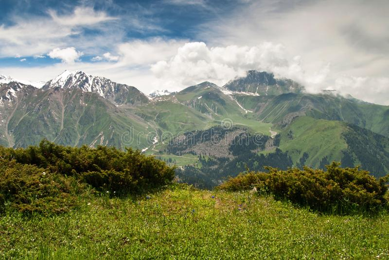 Scenic view on mountains stock photography