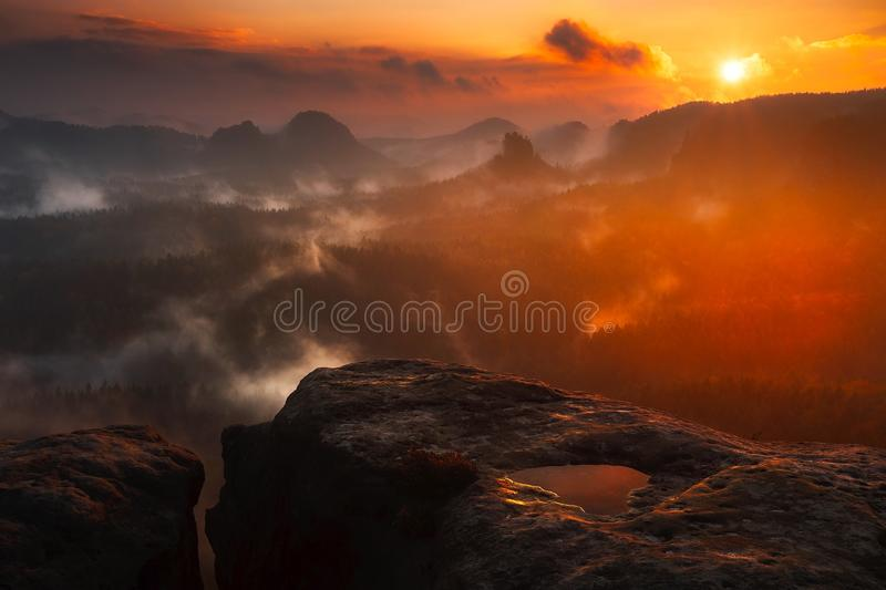 Scenic View of Mountains during Sunset royalty free stock photo