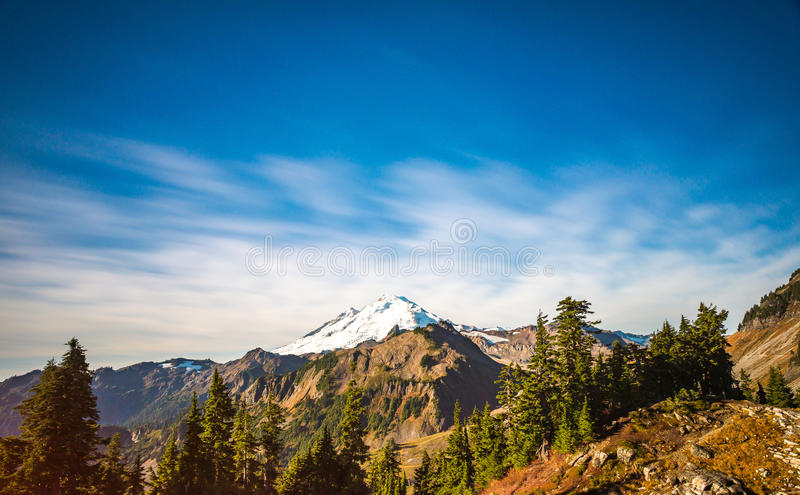 Scenic view of mt Baker from Artist point hiking area.  stock photos
