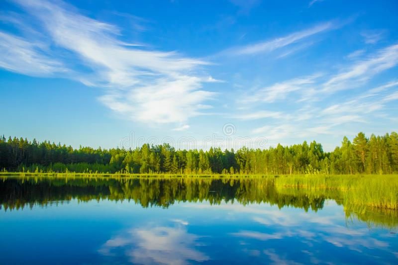 Scenic view of nature with lake, blue sky and forest reflected in water - Summer quiet landscape of Scandinavia stock photography