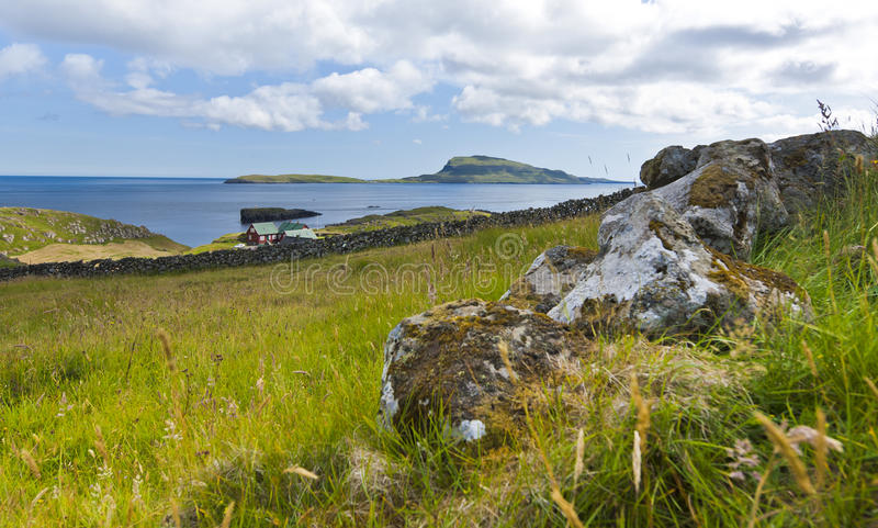 Scenic view of Nolsoy, Faroe Islands. In the horizon is the island Nólsoy, located to the east of the Faroese capital Torshavn in Streymoy royalty free stock photo