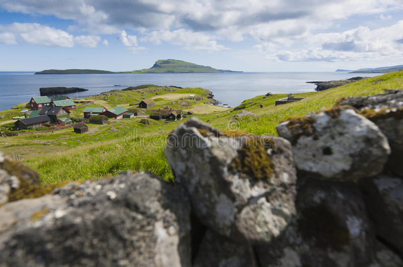 Scenic view of Nolsoy, Faroe Islands. In the horizon is the island Nólsoy, located to the east of the Faroese capital Torshavn in Streymoy royalty free stock photography