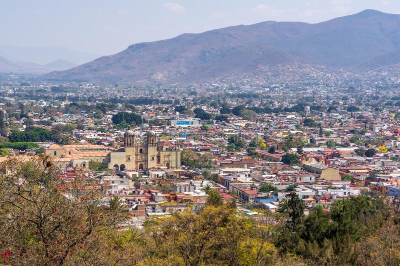 Scenic view on Oaxaca City from amphitheatre. Located in Mexico Central Valley, Oaxaca is famous for its art and crafts production royalty free stock images