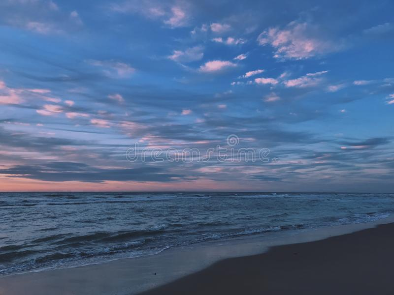 Scenic View of Ocean During Dawn royalty free stock photo