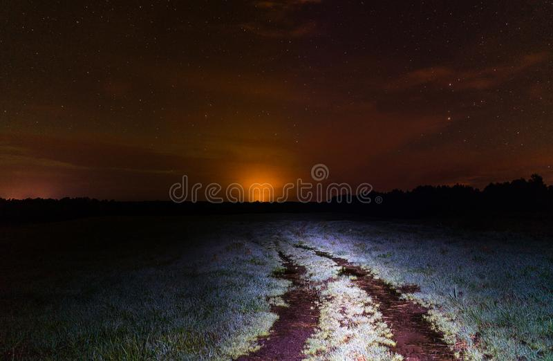 Scenic View of Open Field During Night Time royalty free stock photos