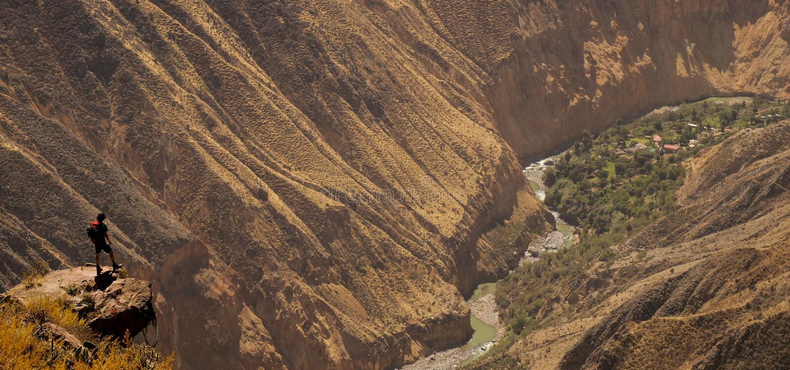 Scenic view over the Colca Canyon, Peru. stock images