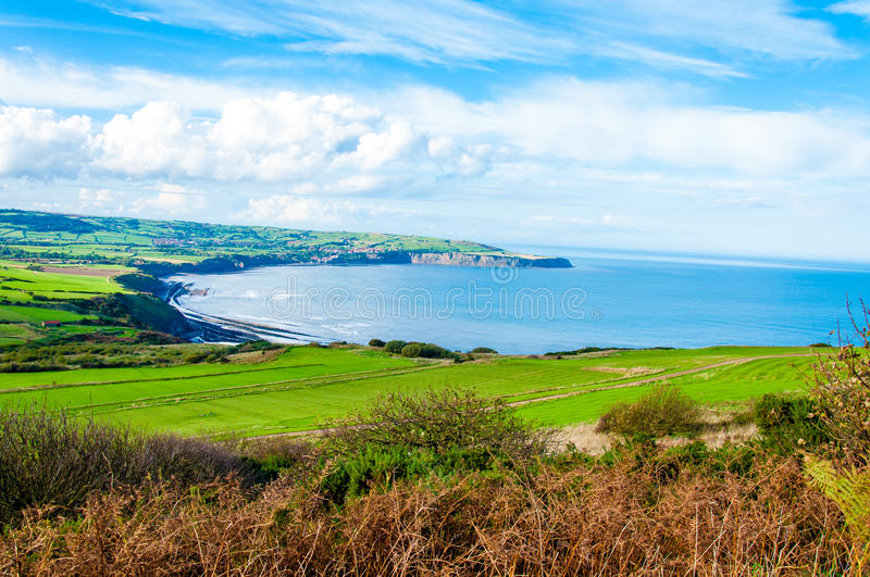 Scenic View over of Robin Hoods Bay stock image
