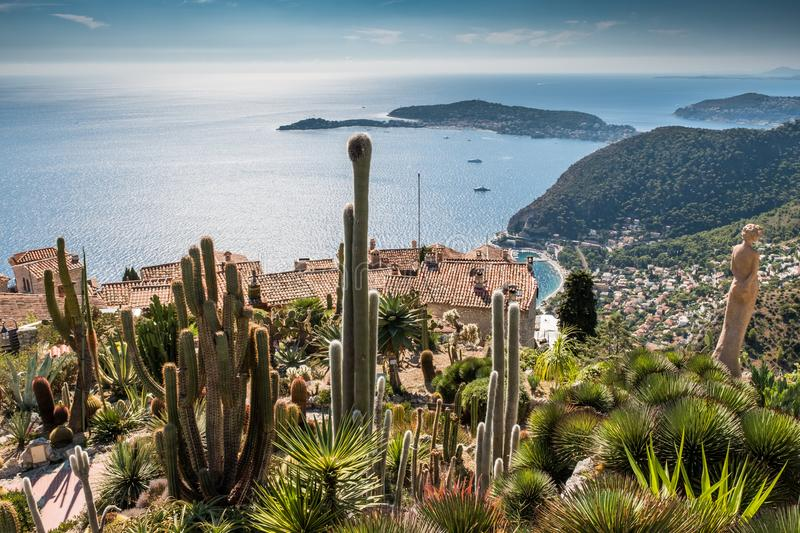 France Provenece Eze village and Botanical Garden Mediterranean. Scenic view over small village Eze and It´s botanical Garden in France in Mediterranean in royalty free stock photo