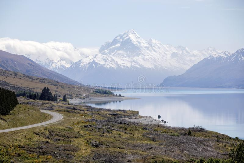 Scenic view from Peter`s Lookout along Lake Pukaki to Mount Cook National Park, New Zealand royalty free stock photo
