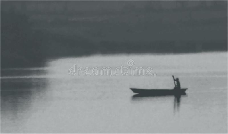 Scenic view photo of old vintage black and white rowboat in river or lake with man royalty free stock photo