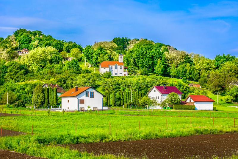 Hills in Zagorje region, Croatia. Scenic view at picturesque colorful landscape in springtime, Zagorje region hills royalty free stock image