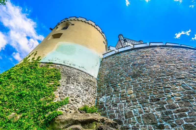 Castle Trakoscan in Zagorje, Northern Croatia. Scenic view at picturesque medieval fort in Trakoscan, popular tourist resort in Northern Croatia, Zagorje region stock photos
