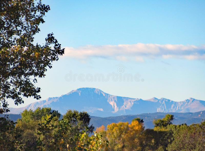 Scenic view of Pikes Peak on autumn morning royalty free stock photos