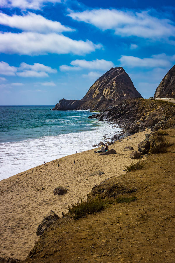 Scenic view of the Point Mugu Rock along Pacific Coast Highway. Point Mugu, California royalty free stock images