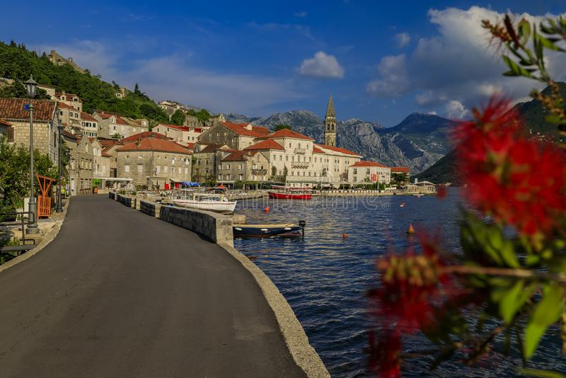 Scenic view of the postcard perfect historic town of Perast in the Bay of Kotor on a sunny day in the summer, Montenegro. Scenic view of a postcard perfect stock photos
