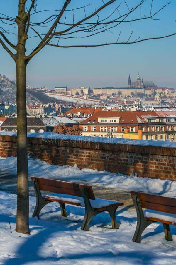 Scenic view of Prague city and Prague castle stock image