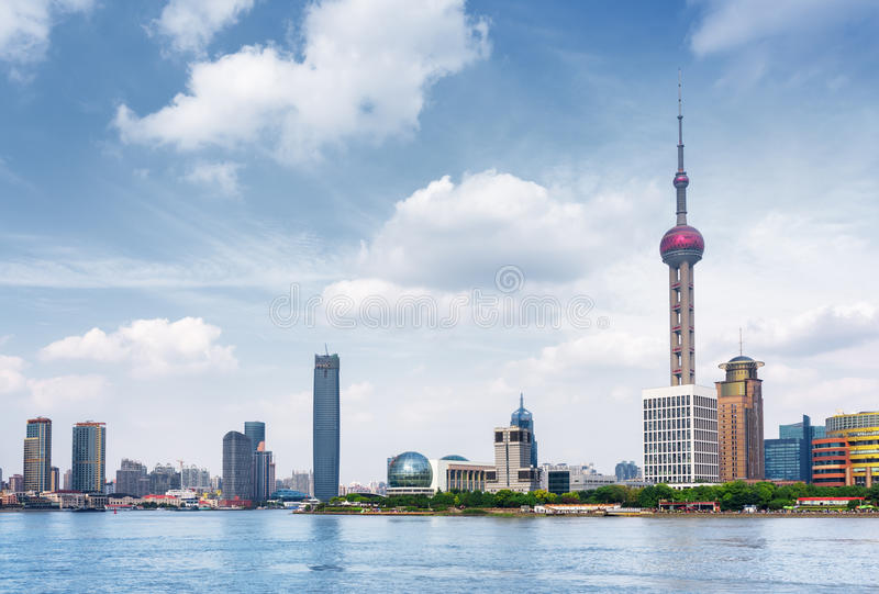 Scenic view of the Pudong New Area Lujiazui in Shanghai, China. Scenic view of the Pudong New Area Lujiazui from the Bund across the Huangpu River in Shanghai stock images