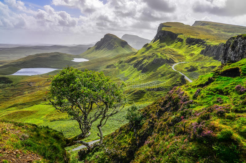 Scenic view of Quiraing mountains in Isle of Skye, Scottish high royalty free stock image