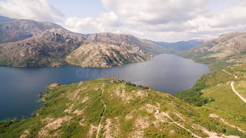 Scenic view of a River Homem in a National Park in North Portugal on a beautiful day in late summer. stock photos