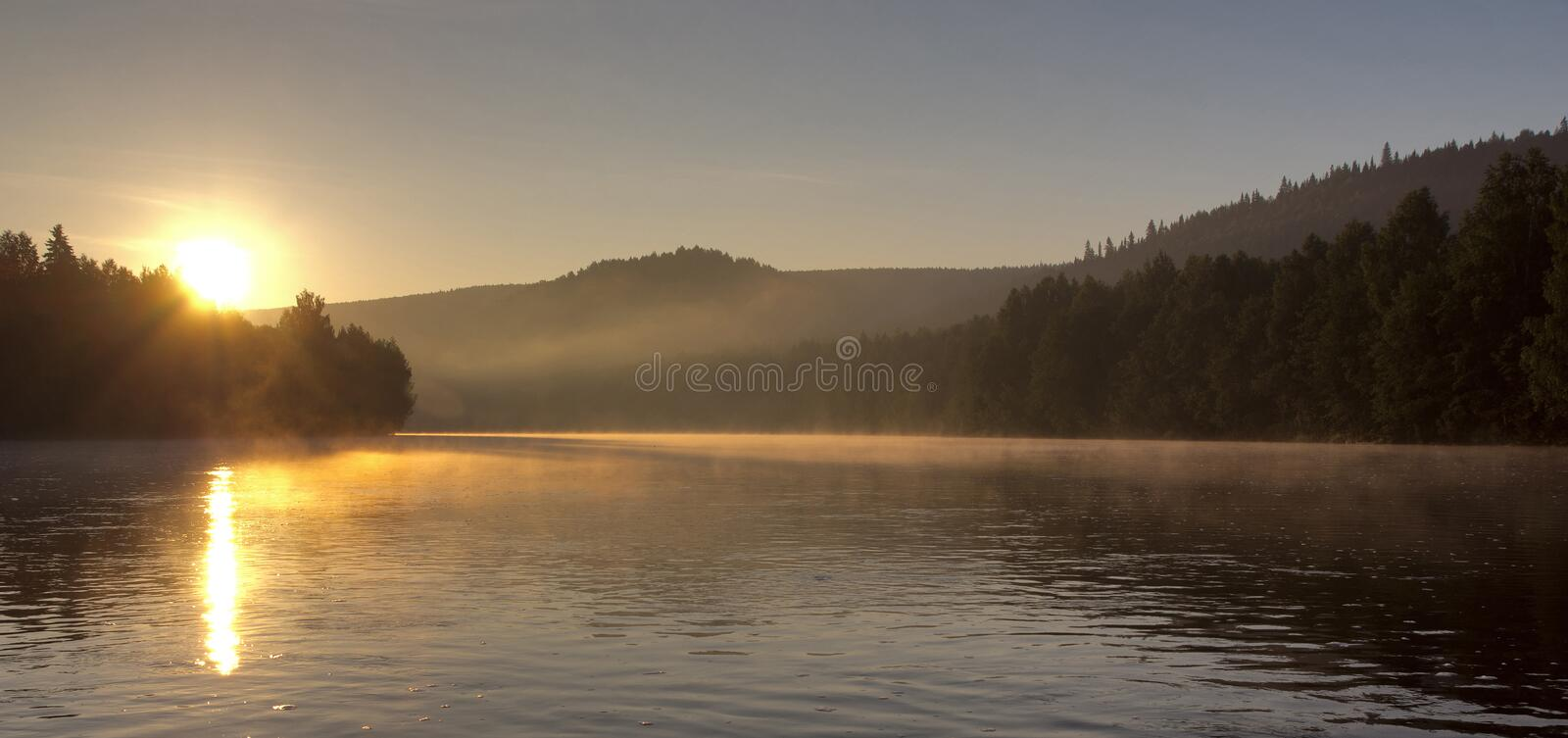 Dawn on the river. Scenic view of river Kosva with blue sky, Perm, Russian Federation stock images