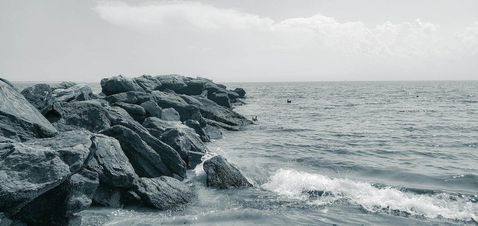 Scenic view of the rocky. Rocky Beach royalty free stock photo