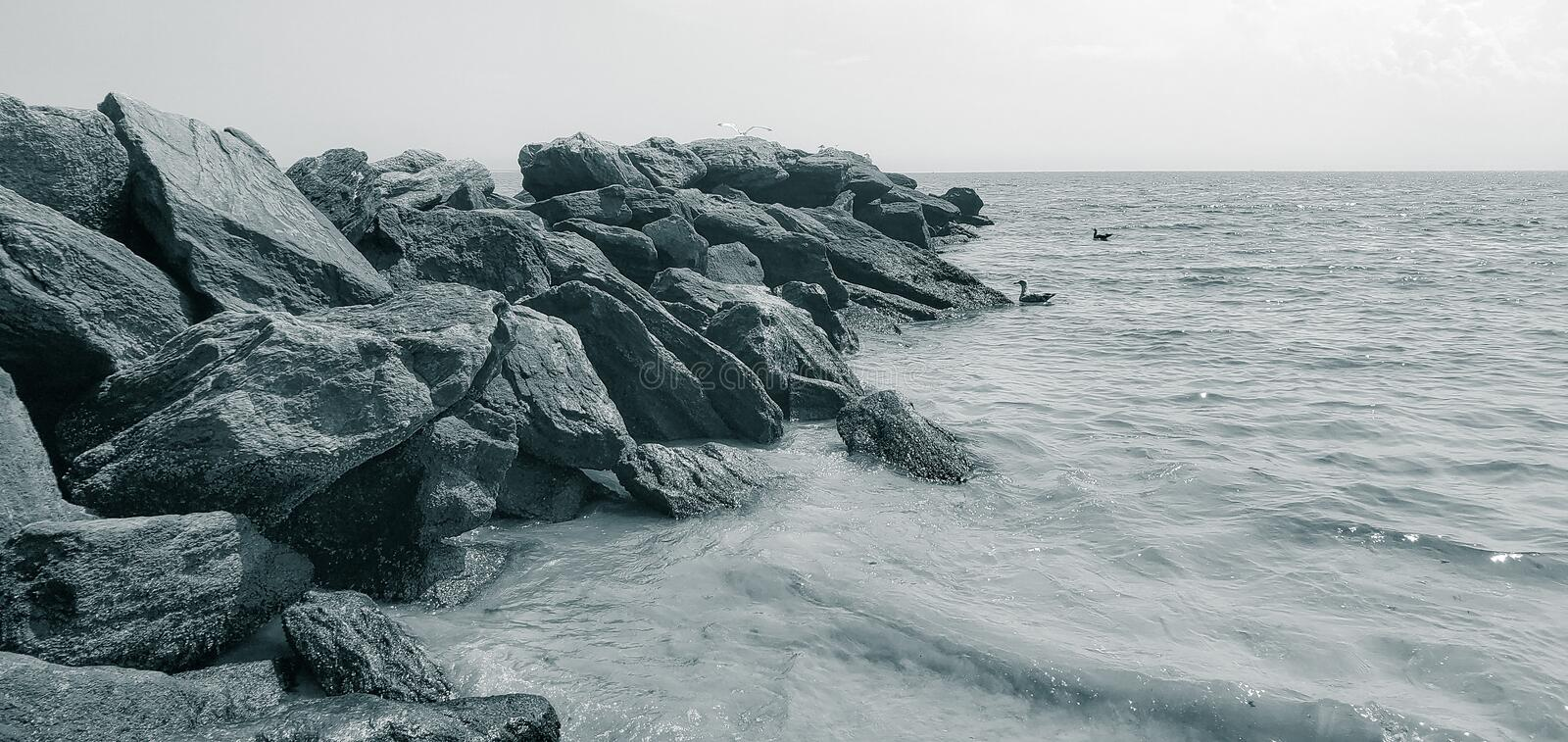 Scenic view of the rocky. Rocky Beach stock photo