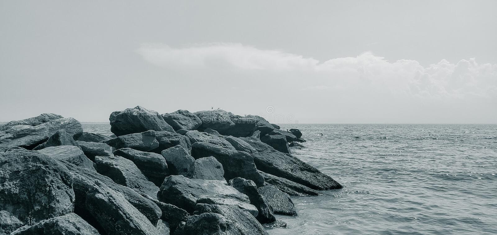 Scenic view of the rocky. Rocky Beach stock photos
