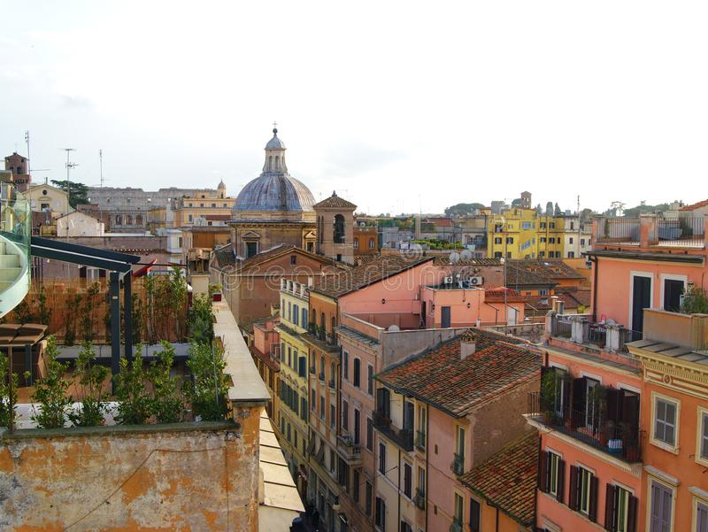 Scenic view from the roof top to the ancient buildings in Rome, Italy stock photos