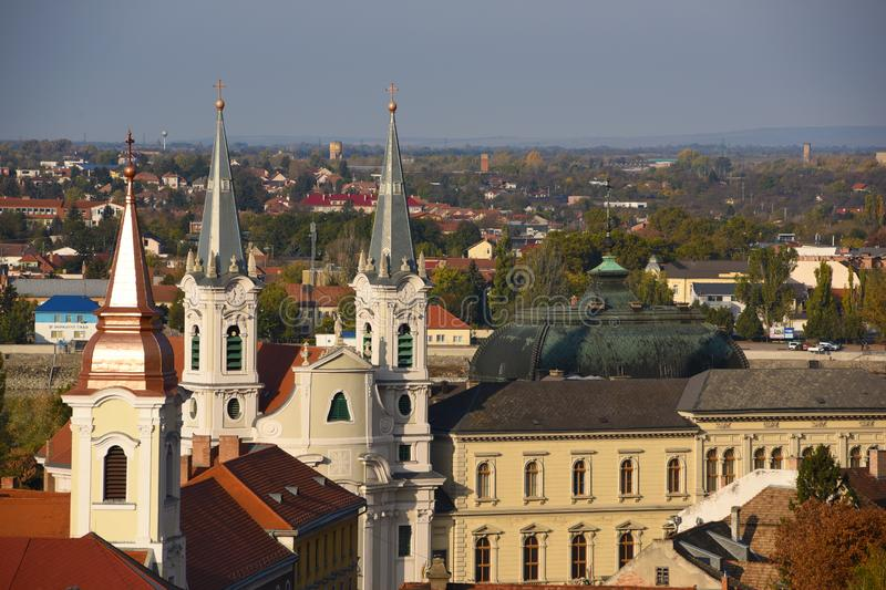 Scenic view of roofs and towers in old town of Esztergom, Hungary at sunny day stock image