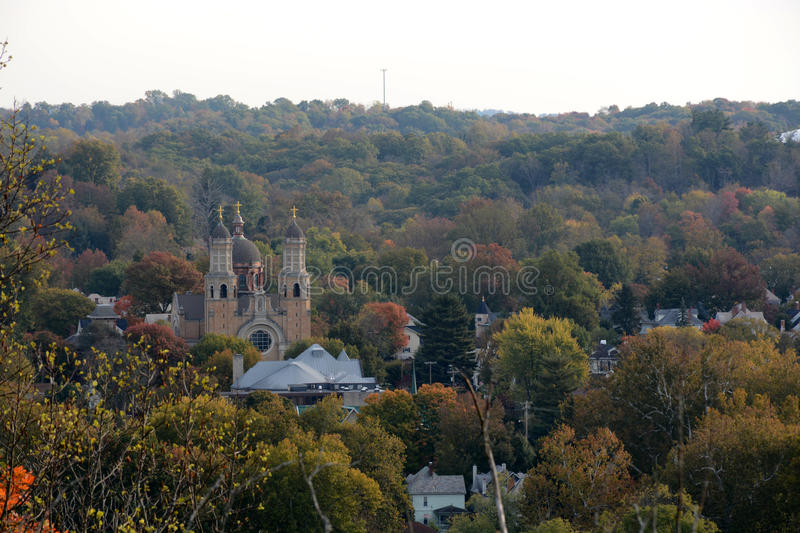 Scenic view. A s enic view from above the city of Marietta ohio with the basillica visible royalty free stock photo