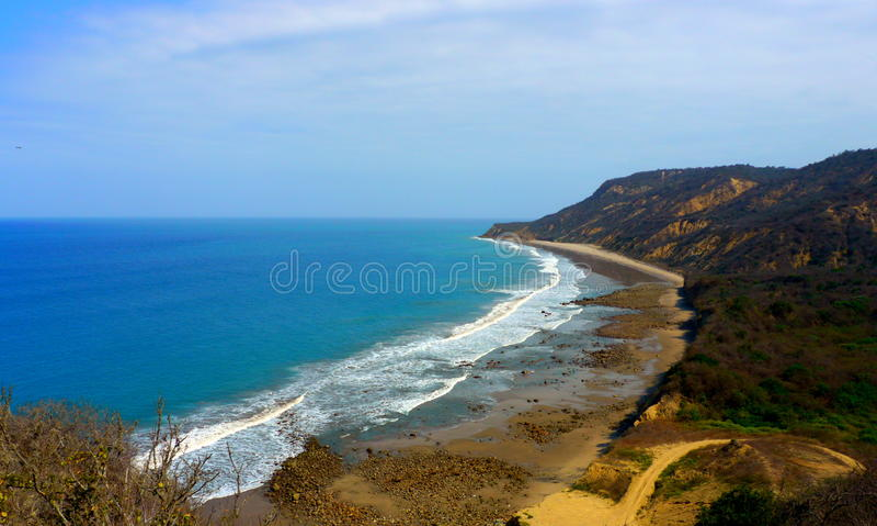 San Lorenzo beach. Scenic view of San Lorenzo beach, Manta, Ecuador royalty free stock image