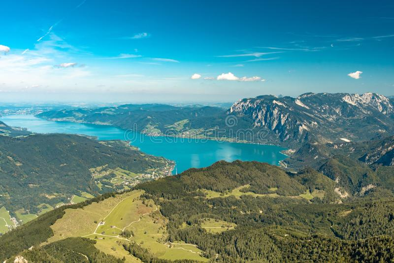 Scenic view from Schafberg over Attersee Lake stock photography