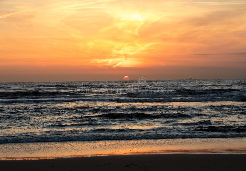 Scenic View Of Sea Against Orange Sky. Scenic View Of Sea Against Orange Sky stock photos