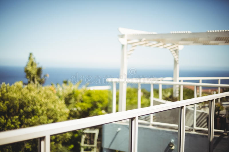 Scenic view of sea against sky. Seen from balcony royalty free stock image