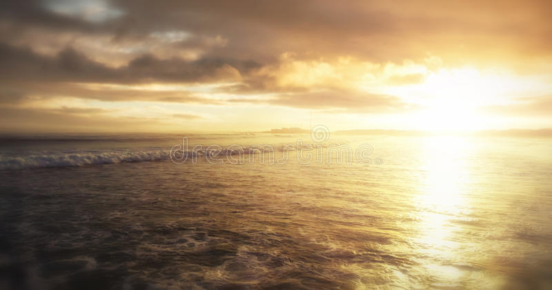 Scenic view of sea against sky. During sunset royalty free illustration