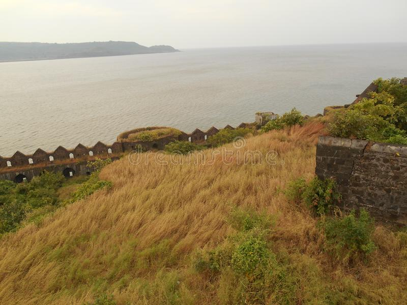 Scenic view of sea and sea forts. Indian historical palaces architecture art and designs historical places stock photos