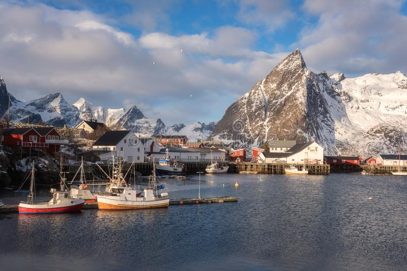 Beautiful winter daytime landscape, view of the small norwegian fishing village Hamnoy, Lofoten Islands, Norway royalty free stock images