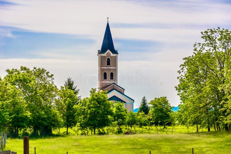 Small chapel in Croatia, Zagorje. Scenic view at small picturesque church in Zagorje region, typical countryside in Northern Croatia royalty free stock photo