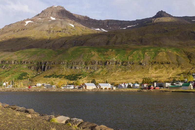 Scenic view of small town Seydisfjordur on Iceland royalty free stock photo