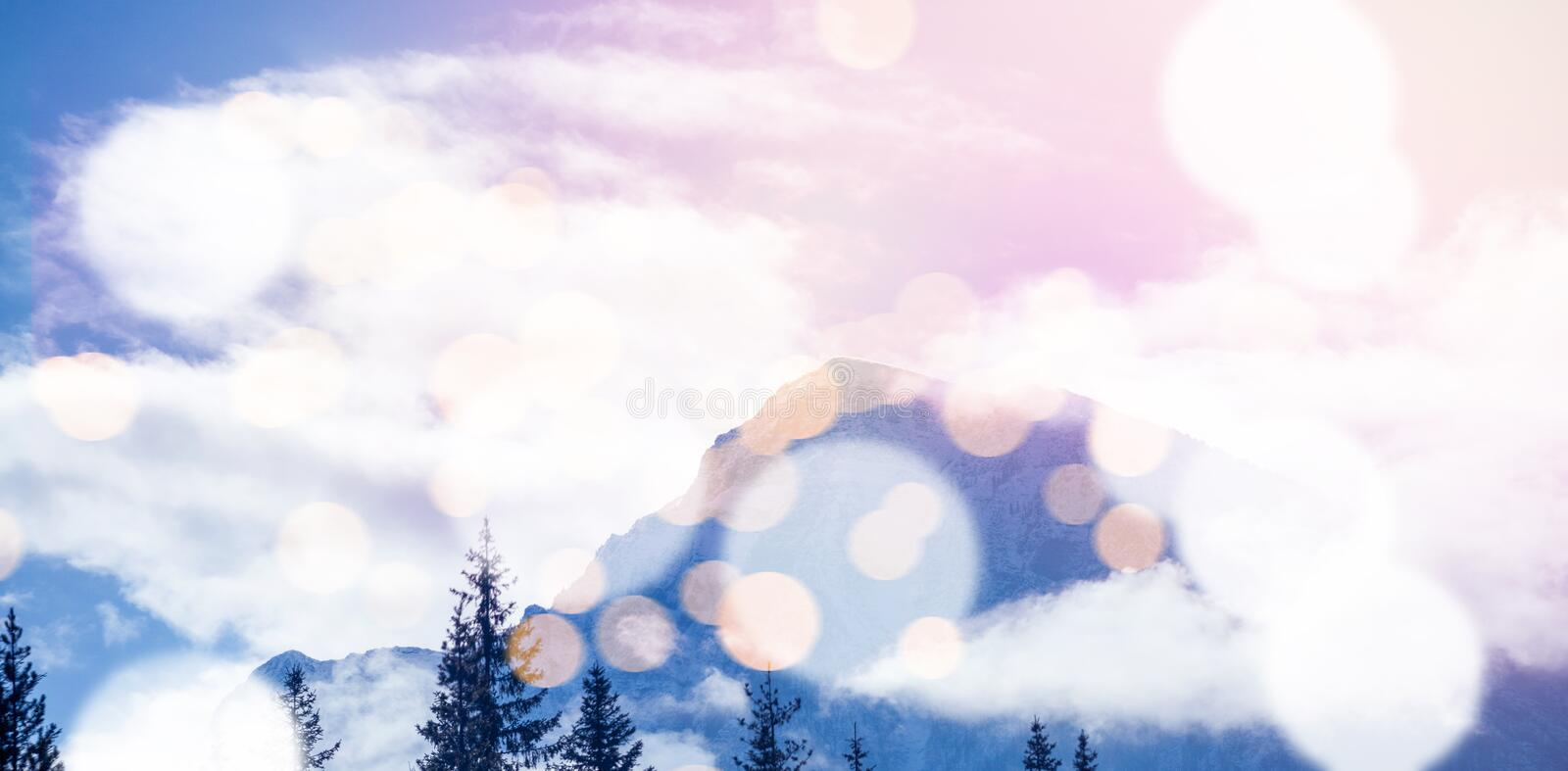 Snow covered mountains with bokeh in foreground. Scenic view of snow covered mountains with bokeh in foreground vector illustration