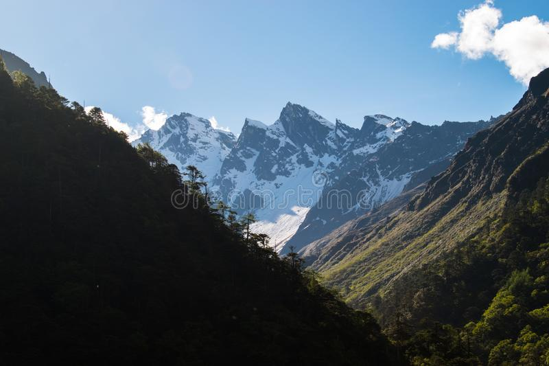 Snow Covered Himalayanmountainrange Against Clear Sky. Scenic view of snow covered through mountains from a mountain valley in North Sikkim With Clear Sky On The royalty free stock photography