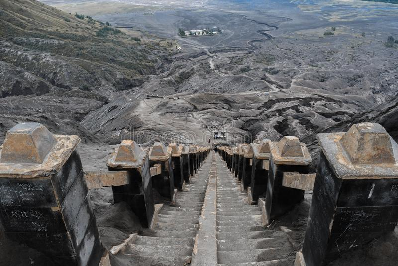 Scenic View Of 250 stairs in Mount Bromo. This picture was taken in Mount BromoIndonesia royalty free stock image