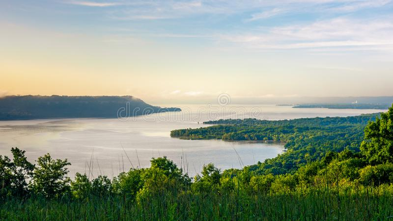 Scenic view at sunrise of the Mississippi River & Lake Pepin stock photography